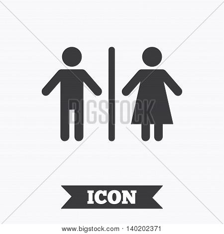WC sign icon. Toilet symbol. Male and Female toilet. Graphic design element. Flat wC symbol on white background. Vector