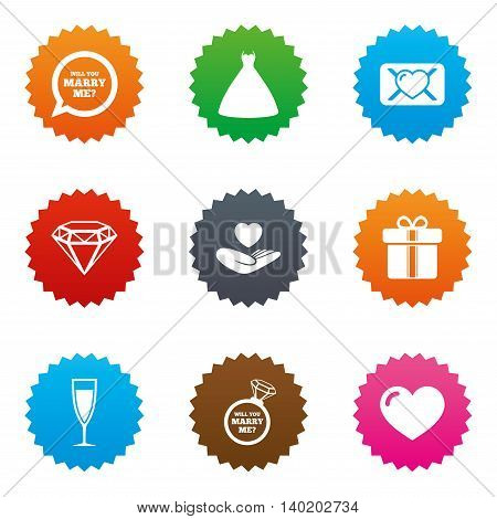 Wedding, engagement icons. Love oath letter, gift box and brilliant signs. Dress, heart and champagne glass symbols. Stars label button with flat icons. Vector