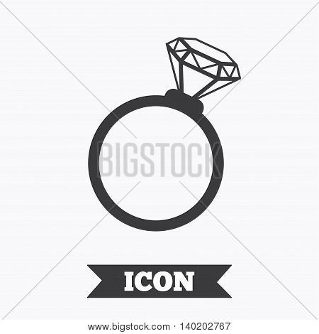 Ring sign icon. Jewelry with diamond symbol. Wedding or engagement day symbol. Graphic design element. Flat wedding ring symbol on white background. Vector