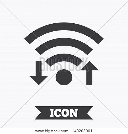 Wifi signal sign. Wi-fi upload, download symbol. Wireless Network icon. Internet zone. Graphic design element. Flat wifi signal symbol on white background. Vector