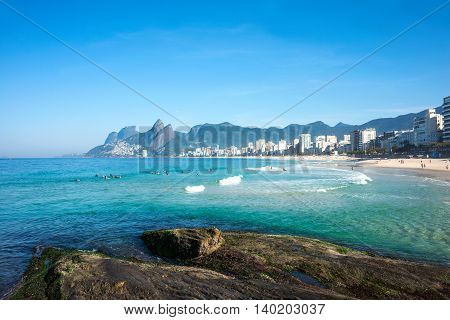 Early morning on the Ipanema beach Rio de Janeiro Brazil