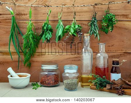 Assorted Herb Bundles Hanging Parsley ,sage,rosemary, Dill,spring Onion ,basil ,oregano And Thyme Fo