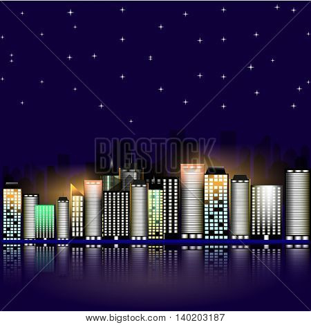 Night city with stars. Night sky in the town. Vector illustration. Abstract background with buildings and stars.