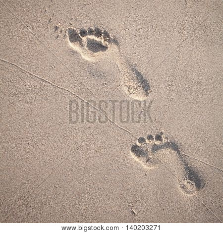 Soft Focus And Tone Of Footprints On The Tropical Beach Sand With Coast Line. Journey  And Leisure C