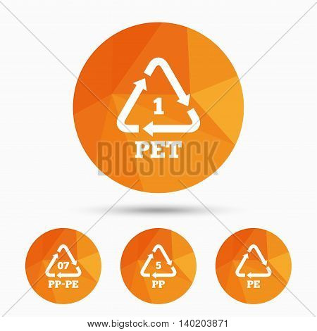 PET 1, PP-pe 07, PP 5 and PE icons. High-density Polyethylene terephthalate sign. Recycling symbol. Triangular low poly buttons with shadow. Vector