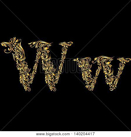 Richly decorated letter 'w' in upper and lower case.