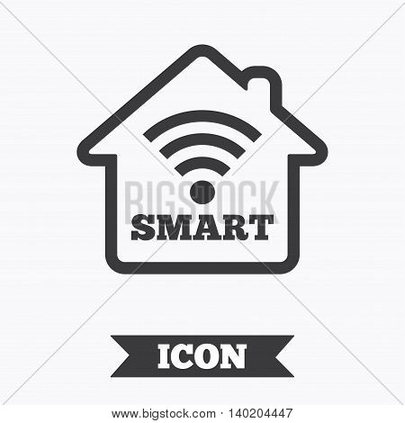 Smart home sign icon. Smart house button. Remote control. Graphic design element. Flat smart home symbol on white background. Vector