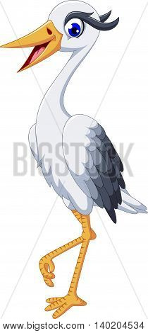 cute Heron bird cartoon posing for you design