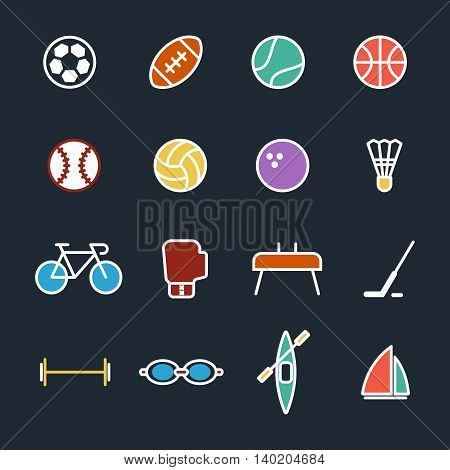 Set of sport icons flat design isolated vector illustration