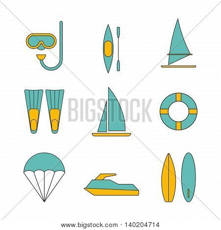 Set of water sport icons flat design isolated vector illustration