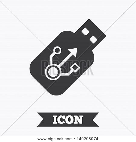 Usb sign icon. Usb flash drive stick symbol. Graphic design element. Flat usb symbol on white background. Vector