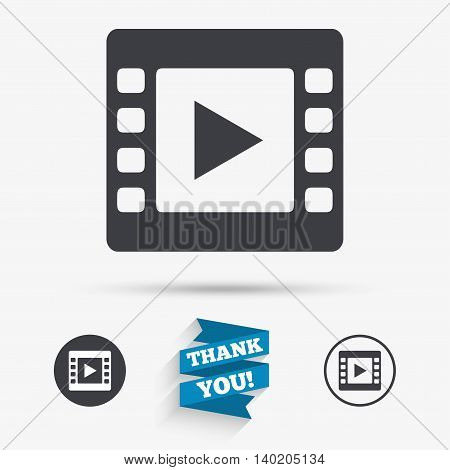 Video sign icon. Video frame symbol. Flat icons. Buttons with icons. Thank you ribbon. Vector