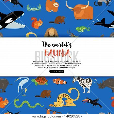 The worlds fauna wild animals. Vector eps 10 format.