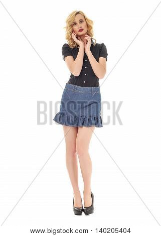 Woman In Skirt Standing In Full Length Isolated