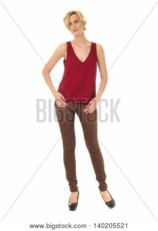 Extremely Beautiful Woman In Brown Leather Pants