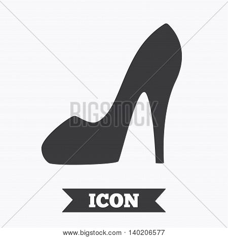 Women sign. Women's shoe icon. High heels shoe symbol. Graphic design element. Flat women shoe symbol on white background. Vector