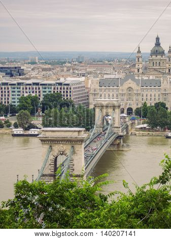 Traffic On Szechenyi Chain Bridge In Budapest Hungary Summer Cloudy Day