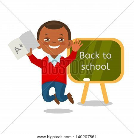Cheerful African American schoolboy showing perfect test results. Cartoon student has received a good mark at school. Vector eps 10 format.