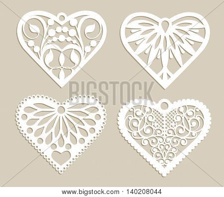 Set stencil lacy hearts with carved openwork pattern. Template for interior design layouts wedding cards invitations etc. Image suitable for laser cutting plotter cutting or printing. Vector
