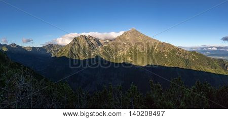 Panorama Of High Tatras Ridge With Slovak National Mountain Krivan