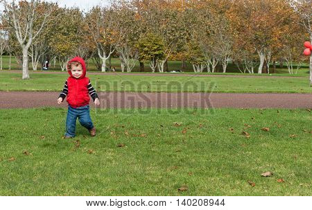 Small boy in red top running and smiling in park
