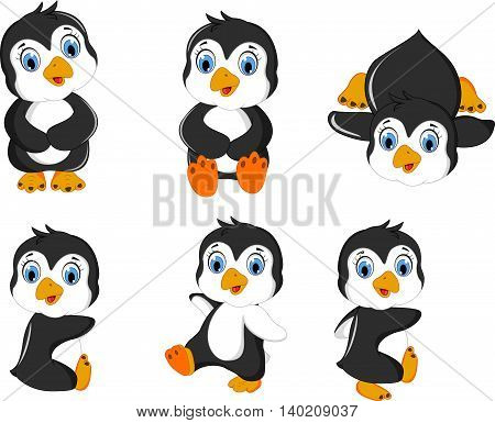 set character of baby penguins cartoon posing
