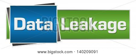 Data leakage text written over green blue background.