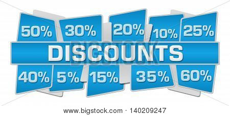 Discounts concept image with text and related symbols.
