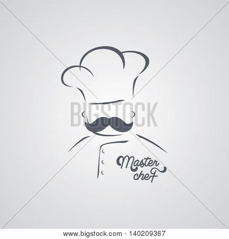 italian mustache guy master chef theme vector art