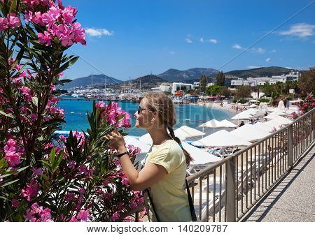 Tourist Woman At The Bodrum Beach