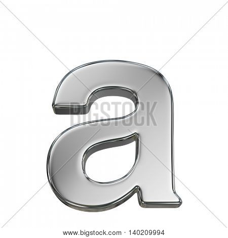 Chrome solid alphabet isolated on white - a lovercase letter