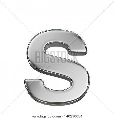 Chrome solid alphabet isolated on white - s lovercase letter