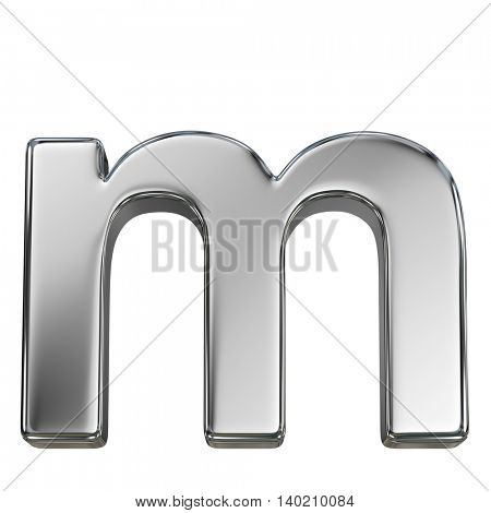 Chrome solid alphabet isolated on white - m lovercase letter