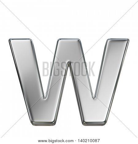 Chrome solid alphabet isolated on white - w lovercase letter
