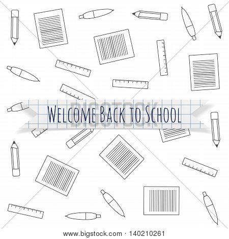 Welcome Back to School festive Label. Vector Illustration.