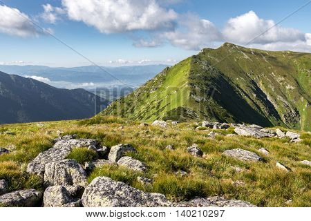 Summer Mountains Ridge Under Blue Sky With White Clouds