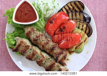Kebab And Grilled Vegetables