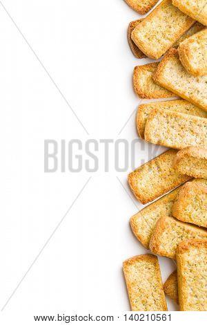 Crispy Italian antipasto bruschetta isolated on white background.