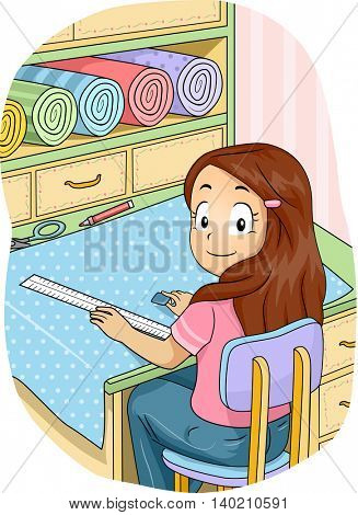 Illustration of a Little Girl Marking a Length of Fabric