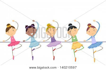 Illustration of Little Ballerinas Performing a Dance Routine