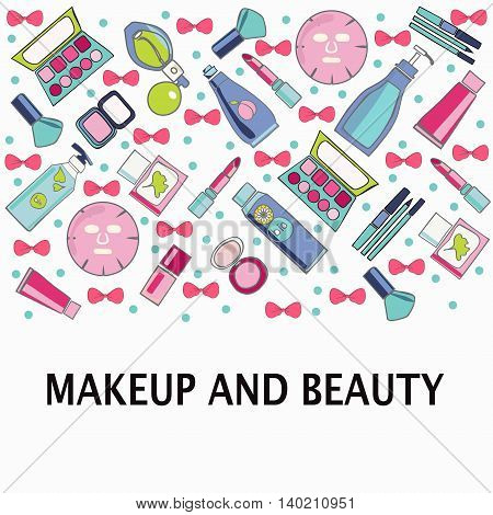 Hand drawn Vector pattern of Make-Up beauty and healthy cosmetic product sketch style Illustration on white background.