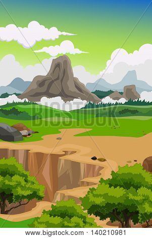 beauty mountain with green forest landscape background