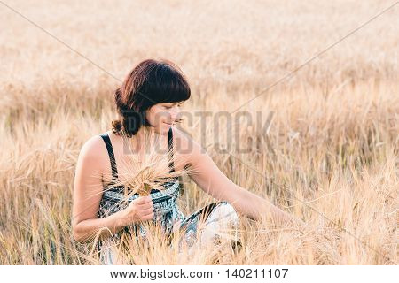 Middle Aged Beauty Woman In Barley Field