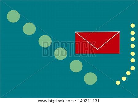 illustration which shows a mail icon on a beautiful background