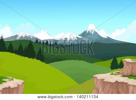 beauty green mountain cliff with landscape background