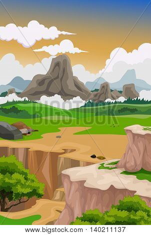 beauty mountain valley cartoon with landscape background