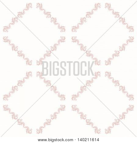 Oriental classic pink ornament. Seamless abstract background with repeating elements