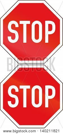 Road Sign Used In The African Country Of Botswana - Stop. Two Stop Signs That May Be Displayed At Cr