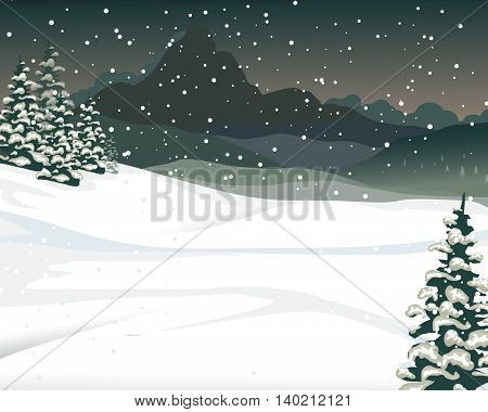 beauty snow mountain cartoon with pine tree background