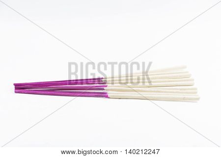 Incense sticks isolated on white background and it is equipment used and the worship around Religion and faith